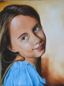 Portrait de Mélanie peinture à l'huile réalisée depuis photo